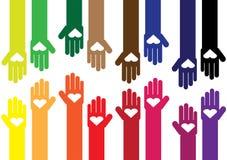 Ζωηρόχρωμα χέρια με τις καρδιές Στοκ Φωτογραφία