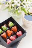 Ζωηρόχρωμα χειροποίητα bonbons σοκολάτας πολυτέλειας στο κιβώτιο Στοκ φωτογραφία με δικαίωμα ελεύθερης χρήσης