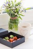 Ζωηρόχρωμα χειροποίητα bonbons σοκολάτας πολυτέλειας στο κιβώτιο Στοκ Εικόνες