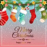 Ζωηρόχρωμα Χριστούγεννα προτύπων με τις κάλτσες διανυσματική απεικόνιση