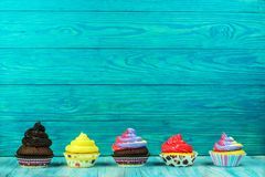 Ζωηρόχρωμα cupcakes σε ένα ξύλινο υπόβαθρο σημύδων Στοκ Φωτογραφία