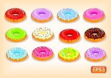 Ζωηρόχρωμα donuts με ένα ρέοντας λούστρο διανυσματική απεικόνιση