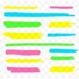 Ζωηρόχρωμα highlighters καθορισμένα Κίτρινοι, πράσινοι, πορφυροί και μπλε δείκτες Διαφανείς συρμένες χέρι γραμμές βουρτσών απεικόνιση αποθεμάτων