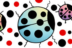 ζωηρόχρωμα ladybugs Στοκ Φωτογραφία