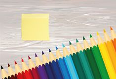 Ζωηρόχρωμα pencis Κίτρινο φύλλο του εγγράφου για τις σημειώσεις sticker Vecto ελεύθερη απεικόνιση δικαιώματος