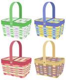 Χρωματισμένα picnic καλάθια Στοκ εικόνες με δικαίωμα ελεύθερης χρήσης