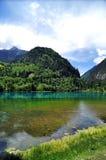 Ζωηρόχρωμες λίμνες στα βουνά στο σημείο ομορφιάς κοιλάδων Jiuzhaigou Στοκ Εικόνες