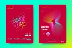 Ζωηρόχρωμες αφίσσες μουσικής με τα κύματα και τους διαστρεβλωμένους κύκλους απεικόνιση αποθεμάτων