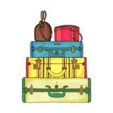 ζωηρόχρωμες βαλίτσες τσ&al Στοκ Φωτογραφίες
