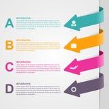 Ζωηρόχρωμες επιλογές βελών infographic στοιχεία τέσσερα σχεδίου ανασκόπησης snowflakes λευκό Στοκ εικόνα με δικαίωμα ελεύθερης χρήσης