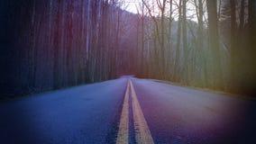 Ζωηρόχρωμες θαμπάδες ήλιων στην αφηρημένη φωτογραφία οδών ενός δρόμου βουνών στο βαθύ δάσος στοκ φωτογραφία