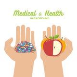 Ζωηρόχρωμες κάψες ταμπλετών χαπιών και υγιή πορτοκάλια μήλων φρούτων στα χέρια υγιής ζωή Στοκ εικόνες με δικαίωμα ελεύθερης χρήσης