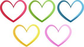 Ζωηρόχρωμες καρδιές Στοκ εικόνες με δικαίωμα ελεύθερης χρήσης