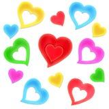 ζωηρόχρωμες καρδιές Απεικόνιση αποθεμάτων