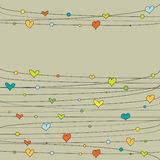 ζωηρόχρωμες καρδιές doodle Στοκ Φωτογραφία