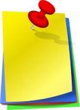 Ζωηρόχρωμες κολλώδεις σημειώσεις με την καρφίτσα Στοκ εικόνα με δικαίωμα ελεύθερης χρήσης