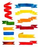 Ζωηρόχρωμες κορδέλλες watercolor που απομονώνονται στο άσπρο υπόβαθρο Στοκ φωτογραφίες με δικαίωμα ελεύθερης χρήσης