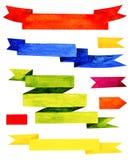 Ζωηρόχρωμες κορδέλλες watercolor που απομονώνονται στο άσπρο υπόβαθρο Στοκ Εικόνες