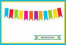 Ζωηρόχρωμες μικρές σημαίες στην κάρτα Στοκ εικόνες με δικαίωμα ελεύθερης χρήσης