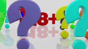 Ζωηρόχρωμες μικτές διαφορετικές σύμβολα και επιστολές με το ΦΥΛΟ και 18 διανυσματική απεικόνιση