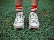 Ζωηρόχρωμες μοντέρνες κάλτσες στον πράσινο τομέα στοκ εικόνες