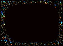 ζωηρόχρωμες μουσικές νότες πλαισίων Στοκ εικόνες με δικαίωμα ελεύθερης χρήσης