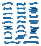 Ζωηρόχρωμες μπλε κορδέλλες καθορισμένες διανυσματική απεικόνιση