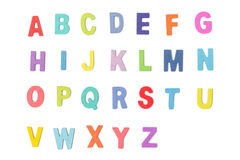 Ζωηρόχρωμες ξύλινες επιστολές αλφάβητου που απομονώνονται στο άσπρο υπόβαθρο Στοκ εικόνα με δικαίωμα ελεύθερης χρήσης