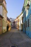Ζωηρόχρωμες οδοί Sighisoara στοκ εικόνα