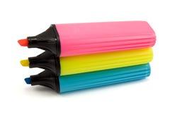 ζωηρόχρωμες πέννες τρία highlighter Στοκ Φωτογραφία