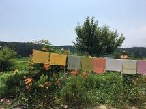 Ζωηρόχρωμες πετσέτες που κρεμούν στον κήπο Στοκ Εικόνες