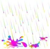Ζωηρόχρωμες πτώσεις βροχής επίσης corel σύρετε το διάνυσμα απεικόνισης Απομονώστε στην άσπρη ανασκόπηση Η βροχή του χρώματος στοκ φωτογραφία