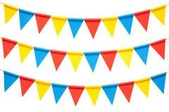 Ζωηρόχρωμες σημαίες κομμάτων υφάσματος που απομονώνονται στο άσπρο υπόβαθρο στοκ εικόνα με δικαίωμα ελεύθερης χρήσης