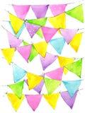 Ζωηρόχρωμες σημαίες watercolor ανασκόπησης illustratin διανυσματική ταπετσαρία κοστουμιών ουράνιων τόξων άνευ ραφής καλά ελεύθερη απεικόνιση δικαιώματος