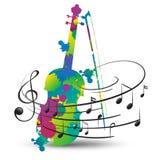 Ζωηρόχρωμες σημειώσεις βιολιών και μουσικής για το λευκό διανυσματική απεικόνιση
