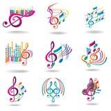 ζωηρόχρωμες σημειώσεις μουσικής στοιχείων σχεδίου που τίθενται Στοκ Φωτογραφίες