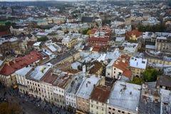 Ζωηρόχρωμες στέγες της παλαιάς πόλης Lviv Στοκ εικόνες με δικαίωμα ελεύθερης χρήσης