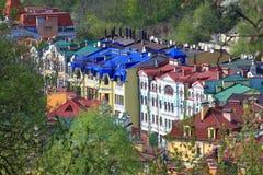 Ζωηρόχρωμες στέγες των σπιτιών στο Κίεβο Στοκ φωτογραφίες με δικαίωμα ελεύθερης χρήσης