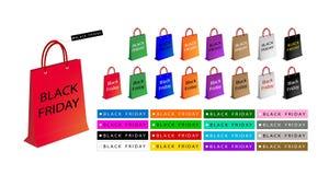 Ζωηρόχρωμες τσάντες αγορών εγγράφου για τη μαύρη Παρασκευή ειδική Στοκ φωτογραφία με δικαίωμα ελεύθερης χρήσης