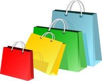 Ζωηρόχρωμες τσάντες αγορών διανυσματική απεικόνιση