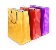 Ζωηρόχρωμες τσάντες για τις αγορές. τρισδιάστατος που απομονώνεται Στοκ φωτογραφίες με δικαίωμα ελεύθερης χρήσης