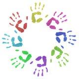 Ζωηρόχρωμες τυπωμένες ύλες χεριών κύκλων Στοκ φωτογραφία με δικαίωμα ελεύθερης χρήσης