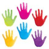 Ζωηρόχρωμες τυπωμένες ύλες χεριών, τέχνη poligonal Στοκ εικόνα με δικαίωμα ελεύθερης χρήσης
