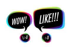 Ζωηρόχρωμες φυσαλίδες με το κείμενο wow και όπως ελεύθερη απεικόνιση δικαιώματος