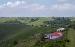 Ζωηρόχρωμες χρωματισμένες ζουλού καλύβες λάσπης/rondavels στην αγροτική γενέθλια, άγρια ακτή Kwazulu, Νότια Αφρική στοκ εικόνες