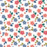 Ζωηρόχρωμη άνευ ραφής floral μίνι τυπωμένη ύλη στο άσπρο υπόβαθρο ελεύθερη απεικόνιση δικαιώματος
