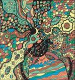 Ζωηρόχρωμη έκδοση του χρωματισμού της διανυσματικής σελίδας με το υπερφυσικό κορίτσι για τη γήινη ημέρα μητέρων Στοκ εικόνες με δικαίωμα ελεύθερης χρήσης