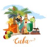 Ζωηρόχρωμη έννοια εμβλημάτων ταξιδιού της Κούβας με τον κουβανικό χάρτη κουβανικό θέρετρο παραλιών Καλωσορίστε στην Κούβα μορφή κ διανυσματική απεικόνιση