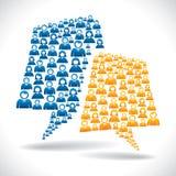 Ζωηρόχρωμη έννοια επικοινωνίας επιχειρηματιών διανυσματική απεικόνιση