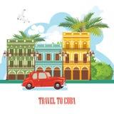Ζωηρόχρωμη έννοια καρτών ταξιδιού της Κούβας Αβάνα κόκκινος τρύγος ύφους κρίνων απεικόνισης Διανυσματική απεικόνιση με τον κουβαν απεικόνιση αποθεμάτων